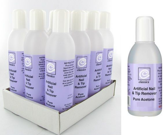 Classics Artificial Nail & Tip Remover Pure Acetone 250ml 1x12