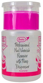 Pretty Nail Varnish Remover With Pump Dispenser Pure Acetone