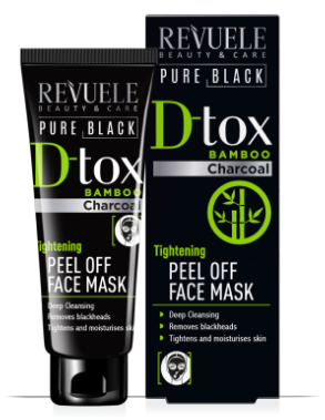 Revuele D-Tox Pure Black Peel Off Face Mask Bamboo Charcoal