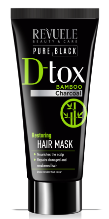Revuele D-Tox Pure Black Restoring Hair Mask Bamboo Charcoal
