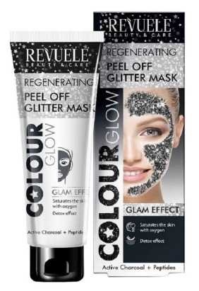Revuele Regenerating Peel Off Glitter Mask Black Active Charcoal + Peptides