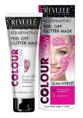 Revuele Regenerating Peel Off Glitter Mask Pink Fruit AHA Acids + Q10