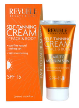 Revuele Self Tanning Cream Fair To Medium SPF 15 200ml