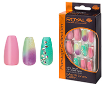 Royal Nail Tips Mardi Gras Coffin NNAI246 1x6