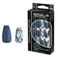 Royal Nail Tips Sapphire And Lace Coffin 1x6